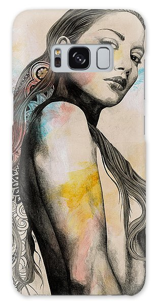 Beautiful Girl Galaxy Case - Cleansing Undertones - Zentangle Nude Girl Drawing by Marco Paludet