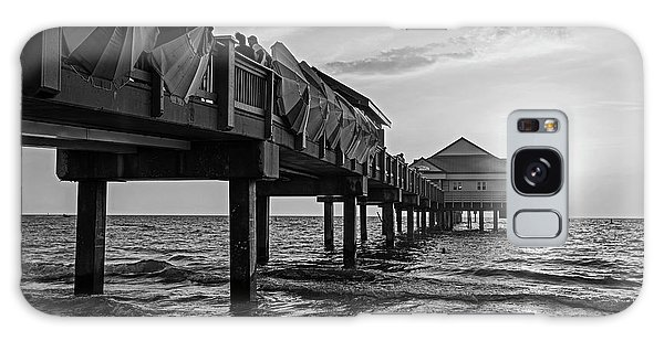 Clearwater Florida Sunset At The Pier Fl Black And White Galaxy Case