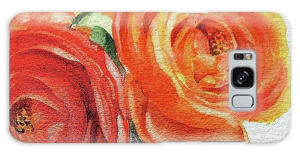 Hyper-realistic Galaxy Case - Close Up Of Ranunculus Flowers Watercolor by Irina Sztukowski