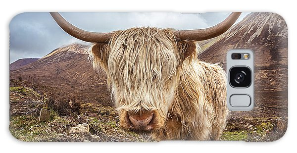 Scenery Galaxy Case - Close Up Portrait Of A Highland Cattle by Zgphotography