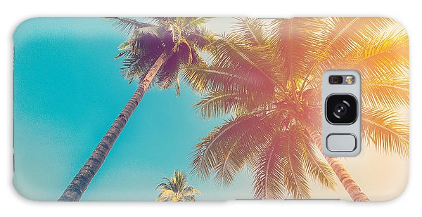 Scenery Galaxy Case - Coconut Palm Tree With Vintage Effect by Tortoon