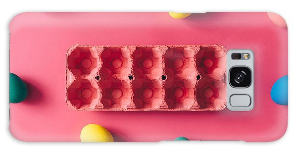 Eggs Galaxy Case - Colorful Easter Eggs On Pink Background by Zamurovic Photography