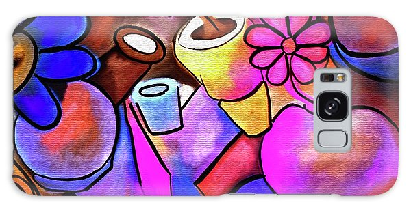 Jug Galaxy Case - Colorful Flowerpots Abstract by Laurie's Intuitive