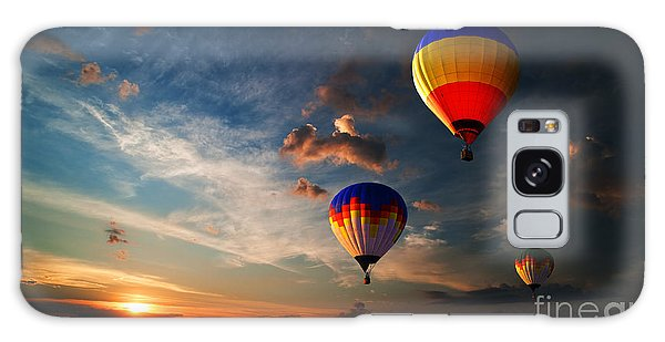 Cloudscape Galaxy Case - Colorful Hot Air Balloon Is Flying At by Rozbyshaka