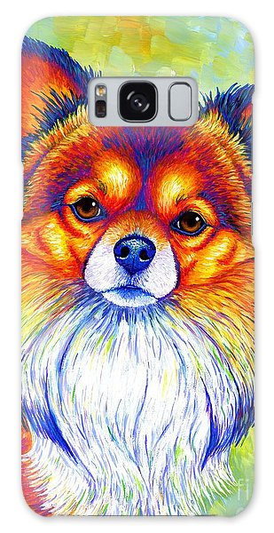 Colorful Long Haired Chihuahua Dog Galaxy Case