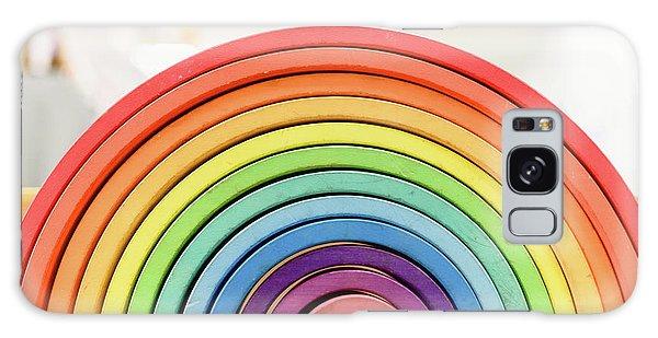 Colorful Waldorf Wooden Rainbow In A Montessori Teaching Pedagogy Classroom. Galaxy Case
