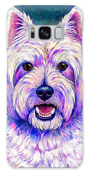 Colorful West Highland White Terrier Blue Background Galaxy Case