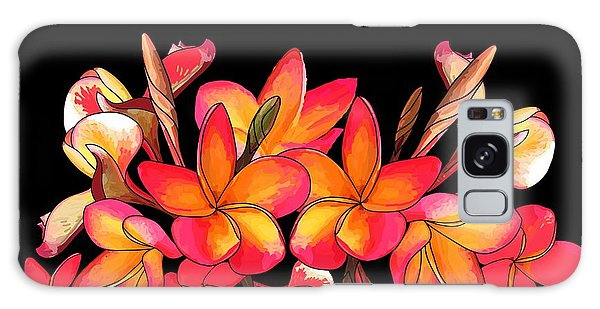 Coloured Frangipani Black Bkgd Galaxy Case