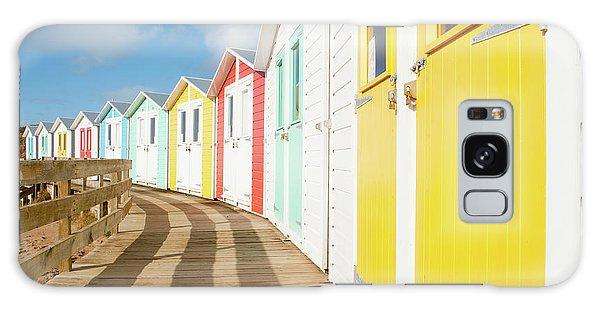 Colourful Bude Beach Huts Galaxy Case