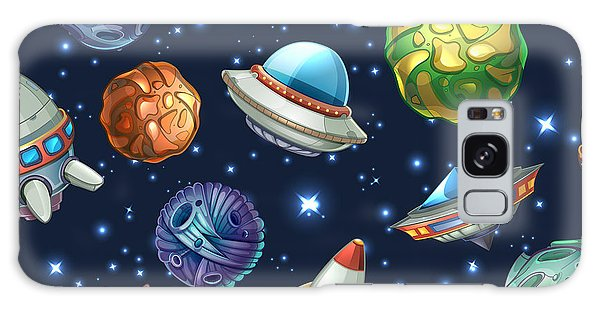 Spaceship Galaxy Case - Comic Space With Planets And by Mssa