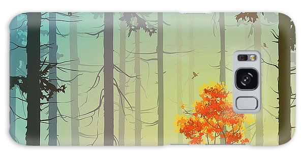 Pine Branch Galaxy Case - Coniferous Forest With Autumn Tree And by Eva mask