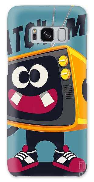Summertime Galaxy Case - Cool Retro Television Character Vector by Braingraph