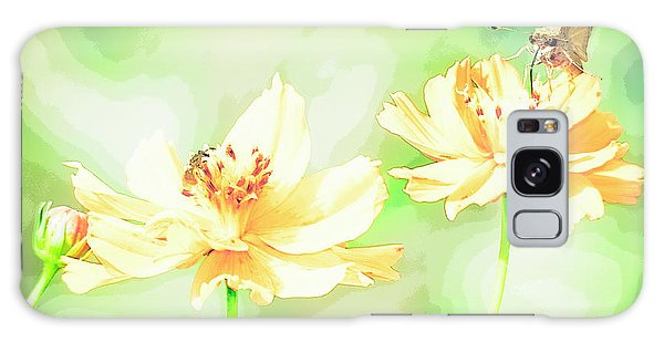 Cosmos Flowers, Bud, Butterfly, Digital Painting Galaxy Case