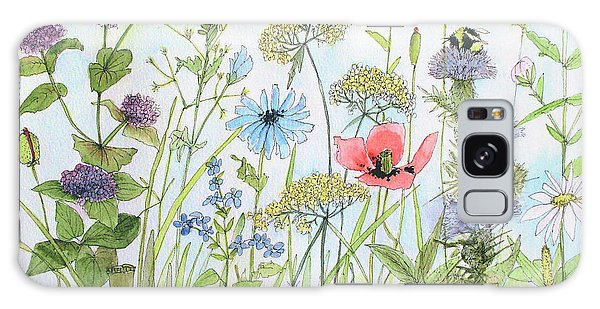 Cottage Flowers And Bees Galaxy Case