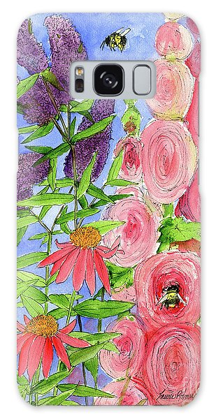 Cottage Garden Hollyhock Bees Blue Skie Galaxy Case
