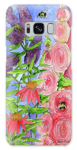 Cottage Garden Hollyhock Bees Blue Skie Galaxy Case