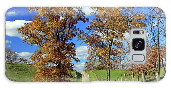 Galaxy Case featuring the photograph Country Road Through Fall Trees by Angela Murdock
