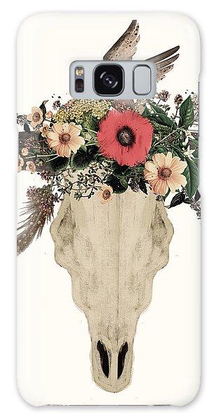 Skull Galaxy Case - Cow Skull Flowers by Bri Buckley