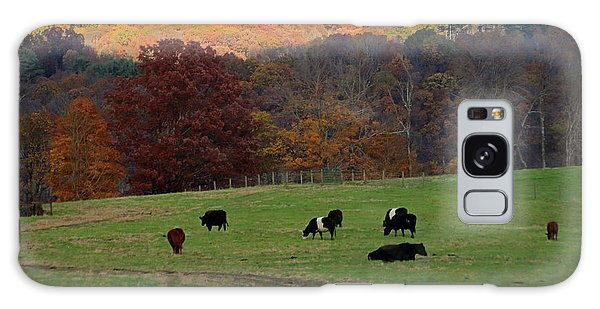 Galaxy Case featuring the photograph Cows Grazing On A Fall Day by Angela Murdock