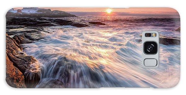 Crashing Waves At Sunrise, Nubble Light.  Galaxy Case
