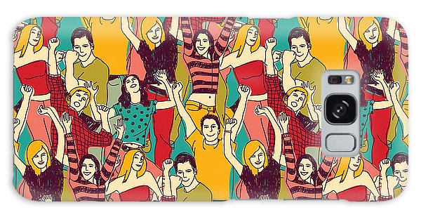 Success Galaxy Case - Crowd Active Happy People Seamless by Chief Crow Daria