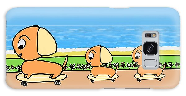 Cute Cartoon Dogs On Skateboards By The Beach Galaxy Case