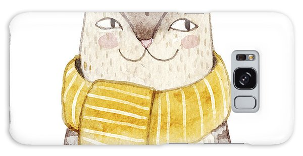 Card Galaxy S8 Case - Cute Cat In Scarf . Watercolor by Maria Sem