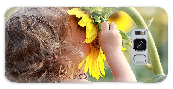 Summertime Galaxy Case - Cute Child With Sunflower In Summer by Sunny Studio