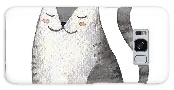 Card Galaxy S8 Case - Cute Gray Cat. Watercolor Kids by Maria Sem
