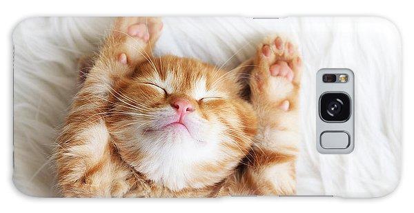 Furry Galaxy Case - Cute Little Red Kitten Sleeps On Fur by Alena Ozerova