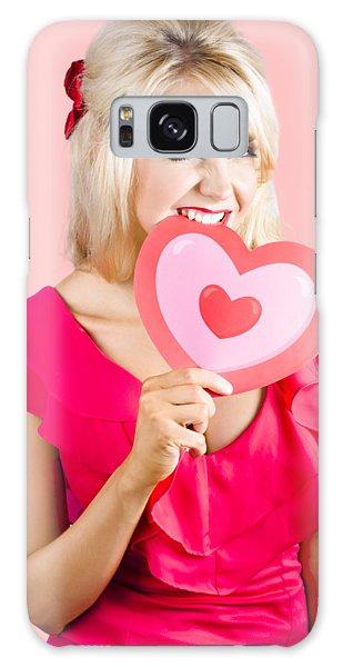 Heartache Galaxy Case - Cute Woman Biting Big Red Love Heart by Jorgo Photography - Wall Art Gallery