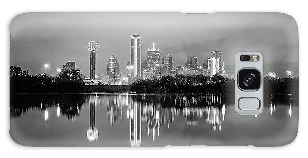 Dallas Cityscape Reflections Black And White Galaxy Case