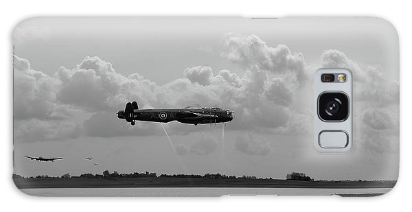 Galaxy Case featuring the photograph Dambusters Lancasters At Abberton Bw Version by Gary Eason
