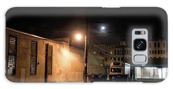 Brick House Galaxy Case - Dark Chicago City Alley At Night With The Moon by Bruno Passigatti
