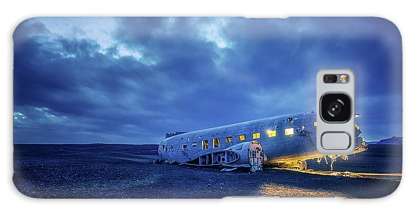 Galaxy Case featuring the photograph Dc-3 Plane Wreck Illuminated Night Iceland by Nathan Bush