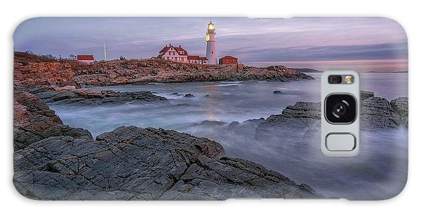 December Dawn At Portland Head Light Galaxy Case