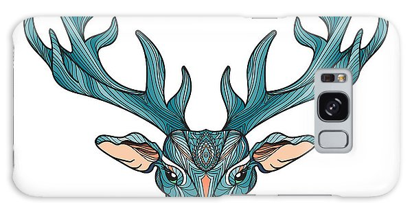 Indian Head Galaxy Case - Deer Bright Colorful Head With Horns by Barsrsind