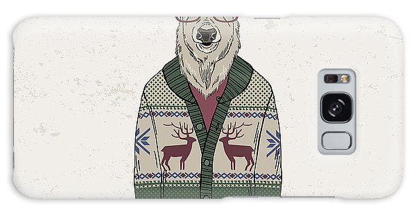 Furry Galaxy S8 Case - Deer Dressed Up In Jacquard Pullover by Olga angelloz