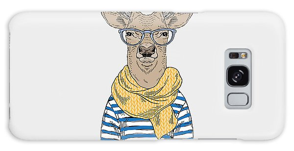 Realistic Galaxy Case - Deer Hipster Dressed Up In Frock And by Olga angelloz