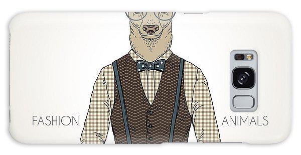Furry Galaxy S8 Case - Deer Man Dressed Up In Retro Style by Olga angelloz