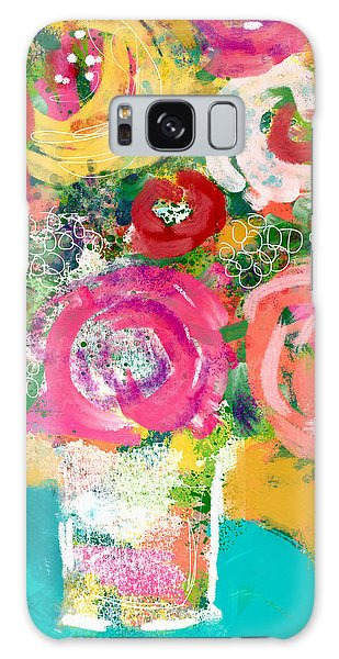 Galaxy Case featuring the mixed media Delightful Bouquet 4- Art By Linda Woods by Linda Woods
