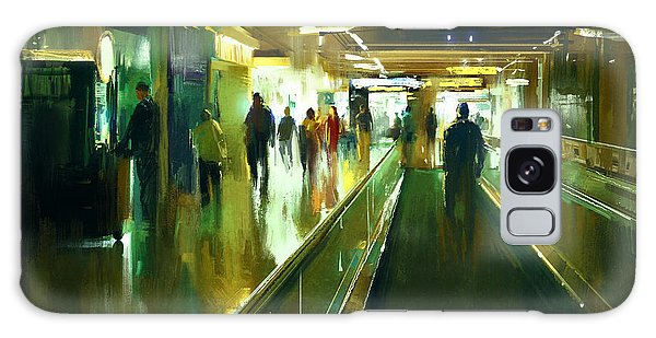 Airport Galaxy Case - Digital Painting Of People Walking In by Tithi Luadthong