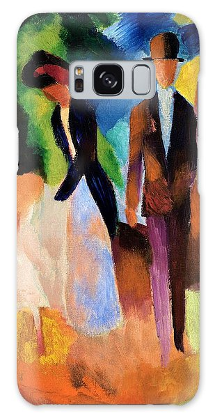 Abstract People Galaxy Case - Digital Remastered Edition - Leute Am Blauen See by August Macke