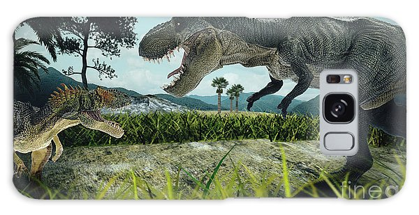 Claws Galaxy Case - Dinosaur Scene Of The Two Dinosaurs by Metha1819