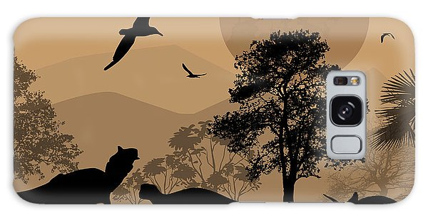 Dusk Galaxy Case - Dinosaurs Silhouettes In Beautiful by Ducu59us