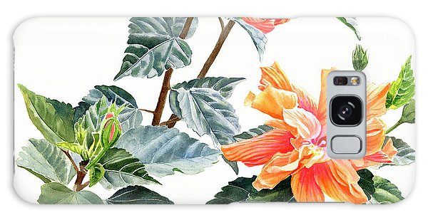 Hibiscus Galaxy Case - Double Orange Hibiscus With Buds by Sharon Freeman