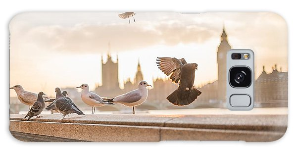 Doves And Seagulls Over The Thames In London Galaxy Case