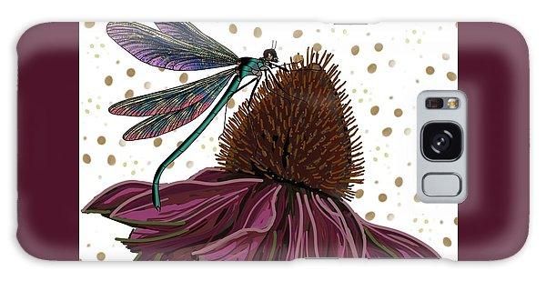 Dragon Fly And Echinacea Flower Galaxy Case