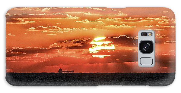 Galaxy Case featuring the photograph Dramatic Atlantic Sunrise With Ghost Freighter by Bill Swartwout Fine Art Photography