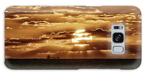 Galaxy Case featuring the photograph Dramatic Atlantic Sunrise With Ghost Freighter In Goldtone by Bill Swartwout Fine Art Photography